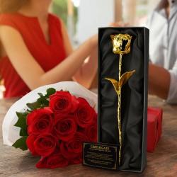 Pozlátená ruža v darčekovej krabičke