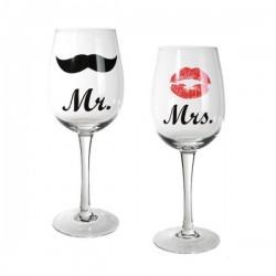 Poháre na víno Mr & Mrs