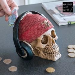 Pokladnička Pirátska lebka so slúchadlami
