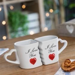 Romantické hrnčeky I Love You so srdiečkovým uškom