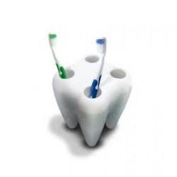 Stojan na zubné kefky v tvare zuba