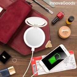 Vreckové zrkadlo Mirbat s LED a powerbnkou 3 v 1
